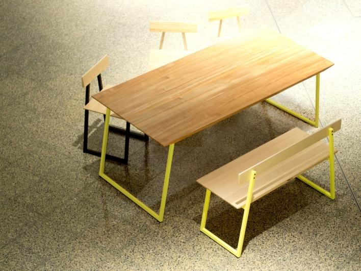 Esstisch Sweet Samuarai mit Sitzbank und Stühlen