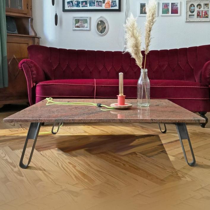 Hering DIY Möbelbein als Couchtisch mit Marmorplatte