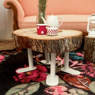 Plattfuss DIY Möbelbein als Couchtisch mit Holzscheibe