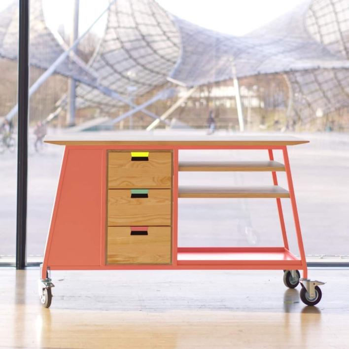Materialhub –mobiles Workshopmöbel