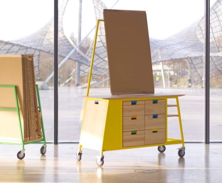 Teamhub – mobiles Workshopmöbel mit voll recylcefähigem Arbeitsboard